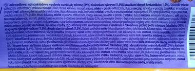 Lody waniliowe i lody czekoladowe w polewie z czekolady mlecznej z kuleczkami ryżowymi i kawałkami słodkich herbatników - Składniki - pl