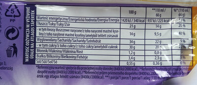 Lody waniliowe i lody czekoladowe w polewie z czekolady mlecznej z kuleczkami ryżowymi i kawałkami słodkich herbatników - Nutrition facts