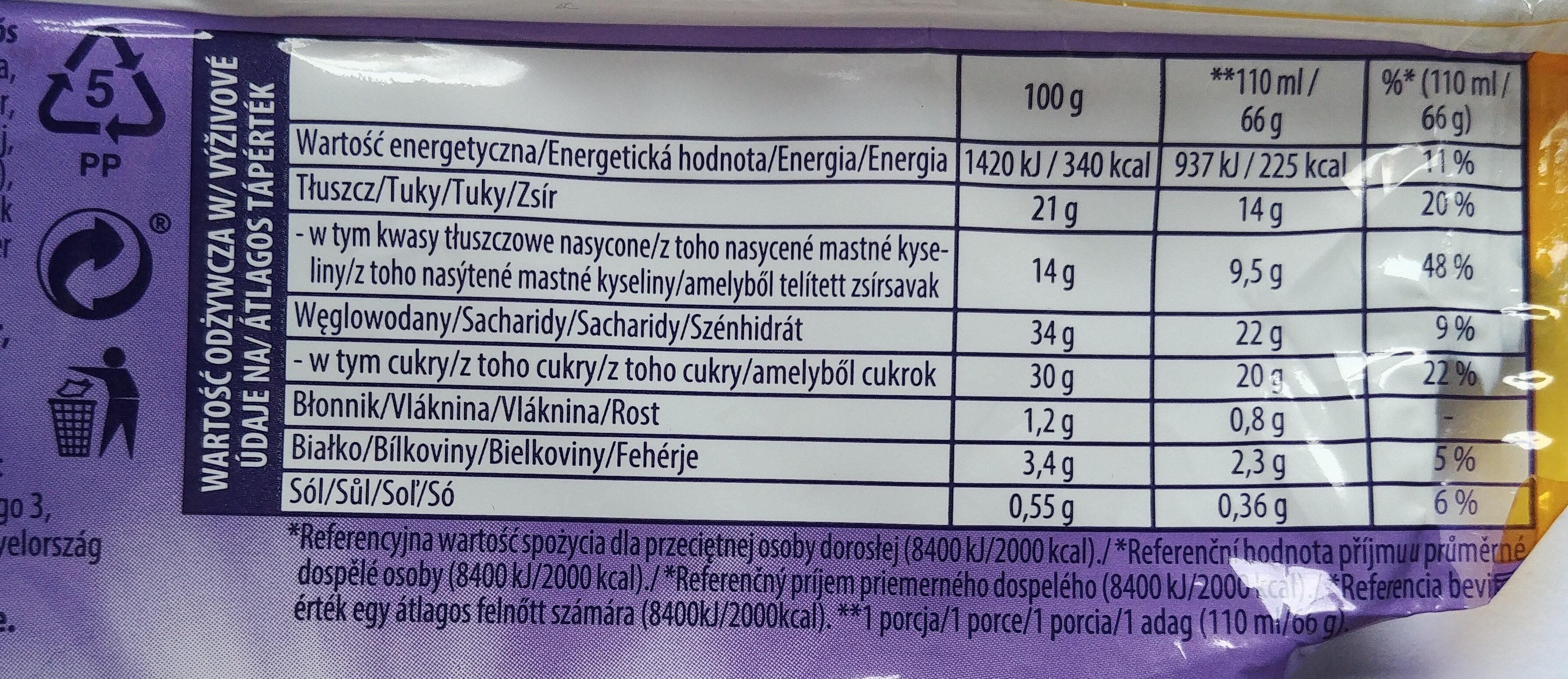 Lody waniliowe i lody czekoladowe w polewie z czekolady mlecznej z kuleczkami ryżowymi i kawałkami słodkich herbatników - Wartości odżywcze - pl
