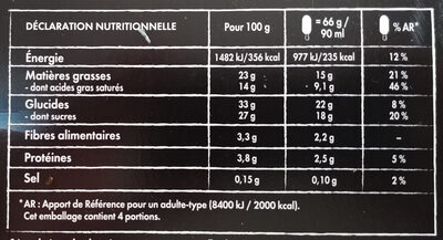 Nuii Ice cream adventure - dark chocolate & nordic berry - 264 g/360 ml - X4 - Informations nutritionnelles - fr