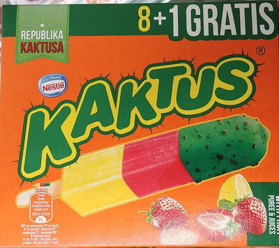 Lody wodne o smaku cytrynowym i sorbet truskawkowy z zieloną polewą tłuszczową (5%) - Product - pl