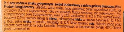 Lody wodne o smaku cytrynowym i sorbet truskawkowy z zieloną polewą tłuszczową (5%) - Ingrediënten - pl