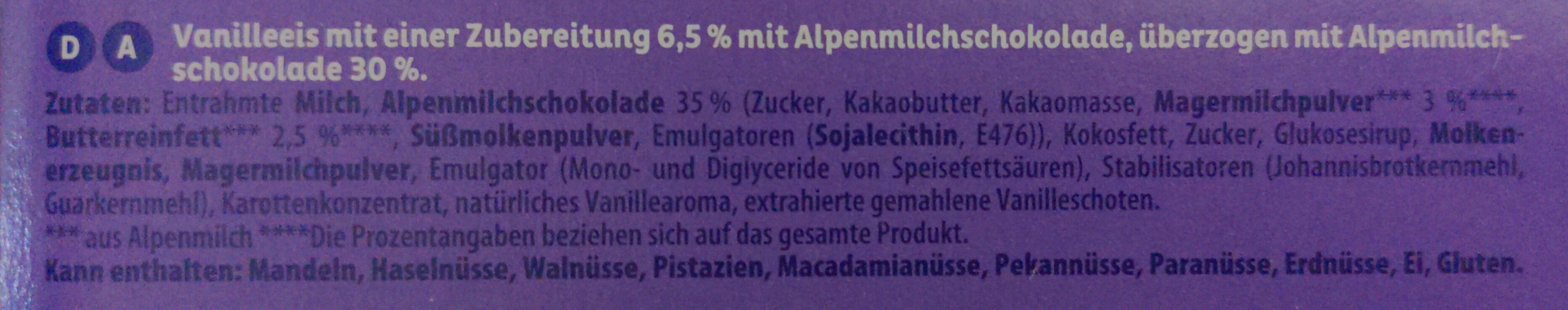 Milka helado - Ingredients - de