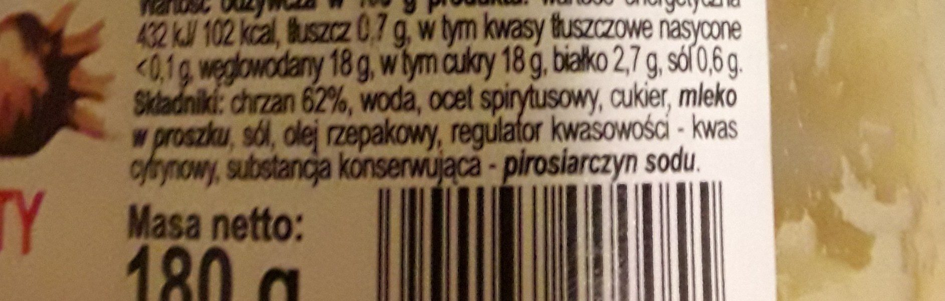 Polonaise Chrzan Tarty 180G - Ingredients - fr