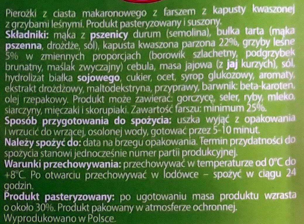 Uszka z kapustą i grzybami - Składniki - pl