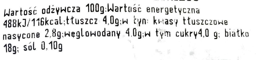 Twaróg półtłusty z Opola lubelskiego - Voedingswaarden - pl