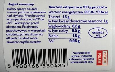 Jogurt owocowy - Voedingswaarden - pl