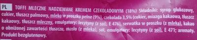 Toffi mleczne nadziewane kremem czekoladowym 18% - Ingredients