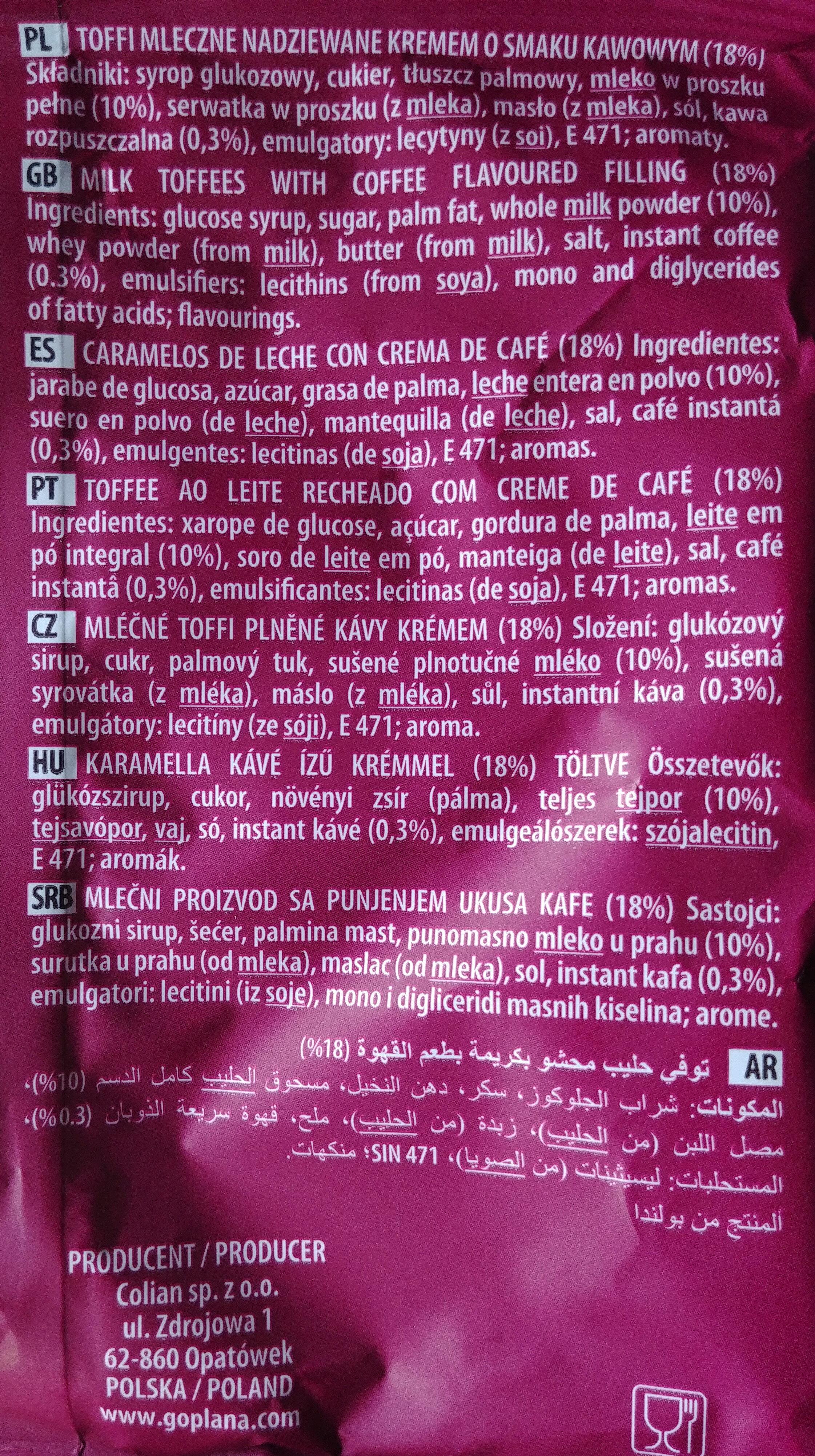 Toffi mleczne nadziewane kremem o smaku kawowym - Składniki - pl