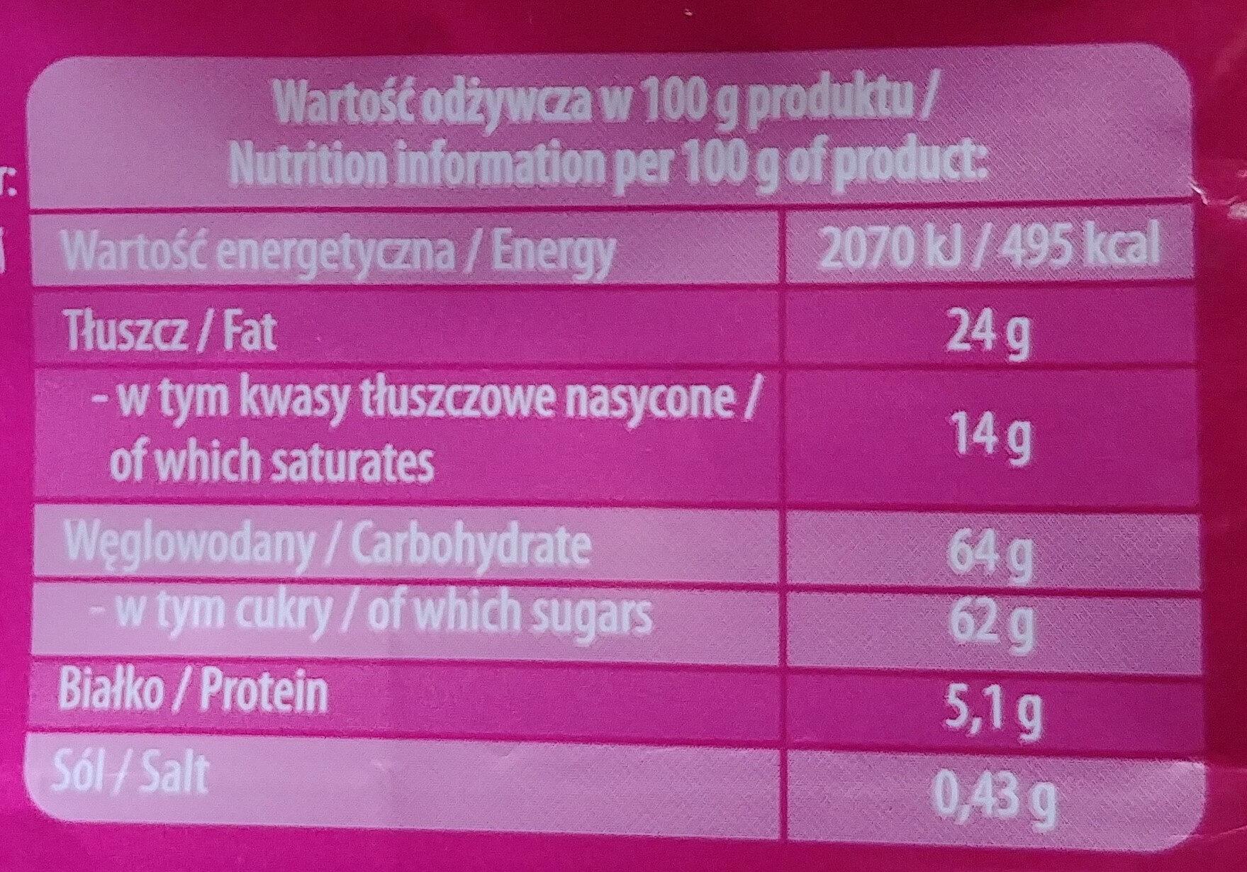 Czekolada mleczna z nadzieniem o smaku karmelowym - Nutrition facts