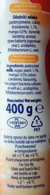 Jogurt do picia brzoskwinia - mango. - Ingredients