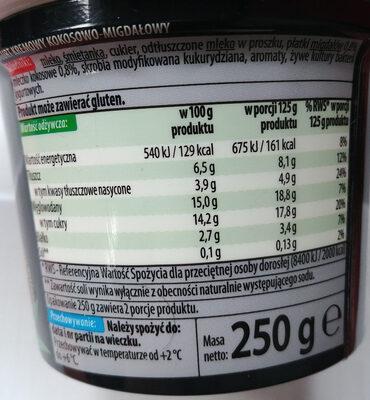 Jogurt kremowy kokosowy-migdały - Nutrition facts