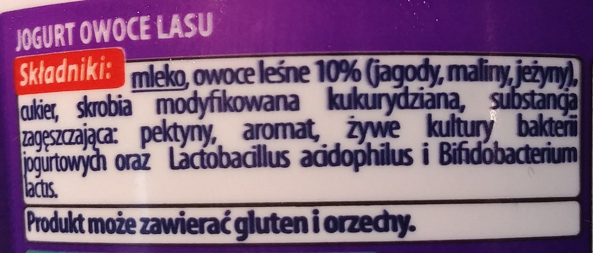 Jogurt owoce lasu - Ingredients