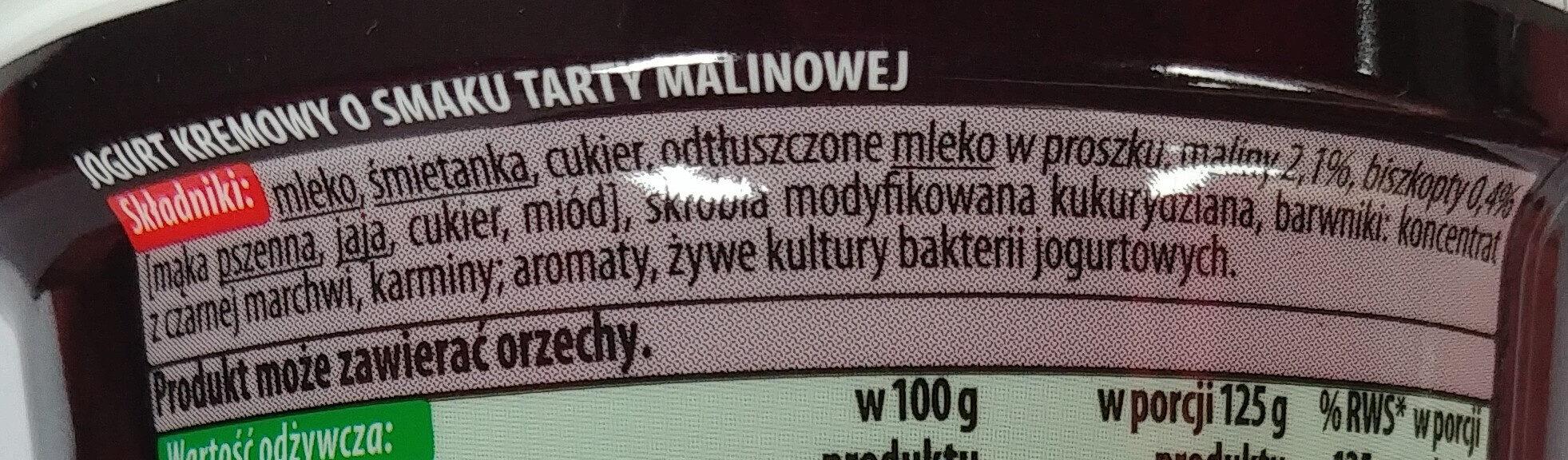Jogurt kremowy o smaku tarty malinowej - Składniki - pl