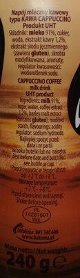 Napój mleczny kawowy typu Kawa cappuccino. - Ingredients