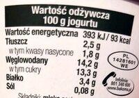 Jogurt Bio z owocami leśnymi - Wartości odżywcze - pl