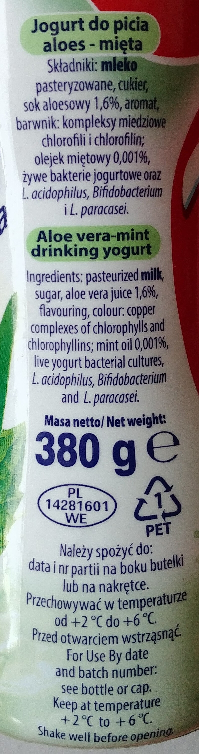 Jogurt do picia aloes - mięta. - Ingredients
