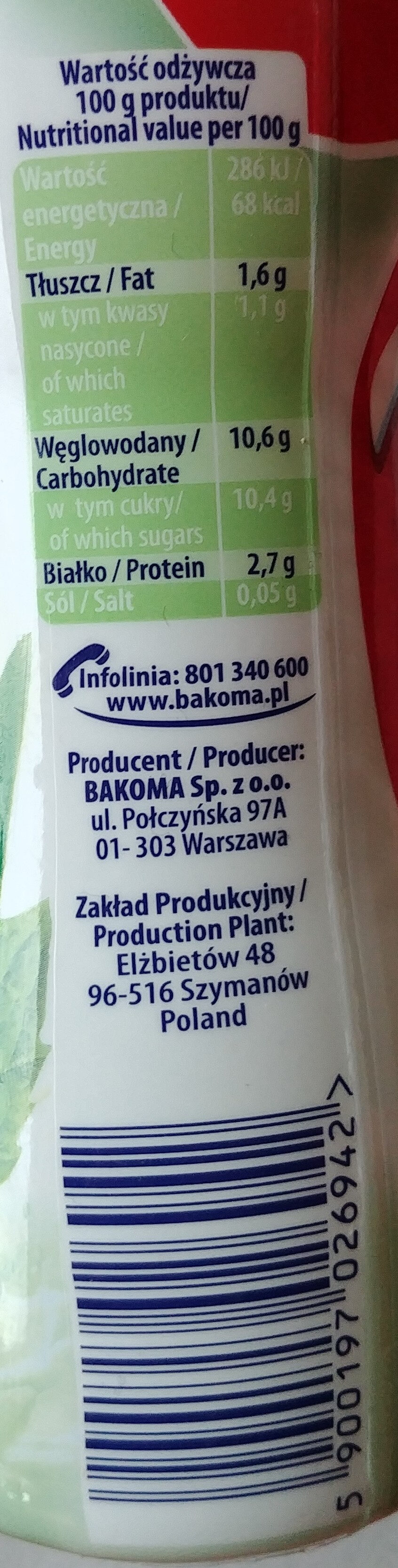 Jogurt do picia aloes - mięta. - Nutrition facts