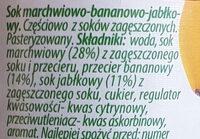 Sok marchew banan jabłko - Składniki - pl