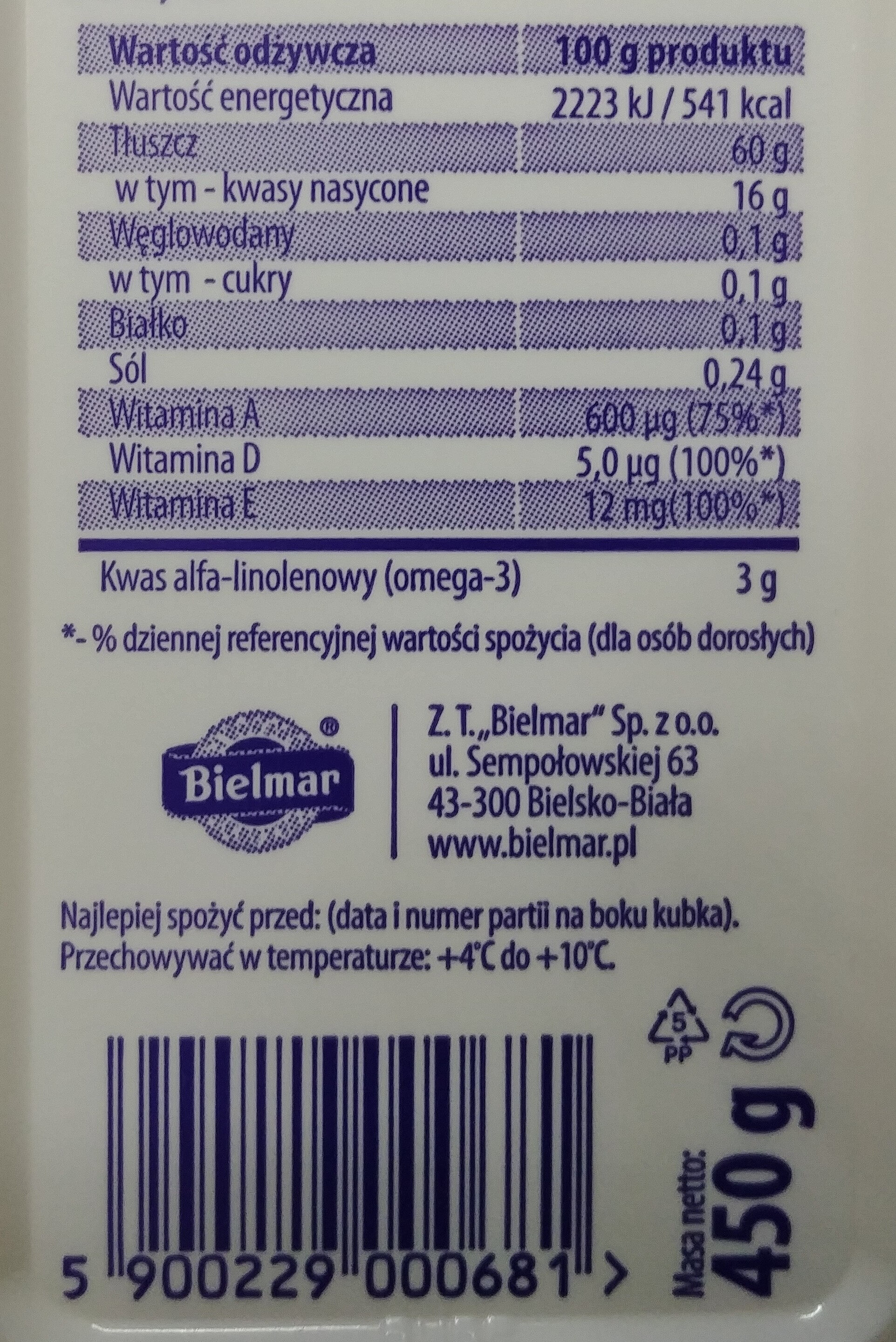 Margaryna o zmniejszonej zawartości tłuszczu - Wartości odżywcze - pl