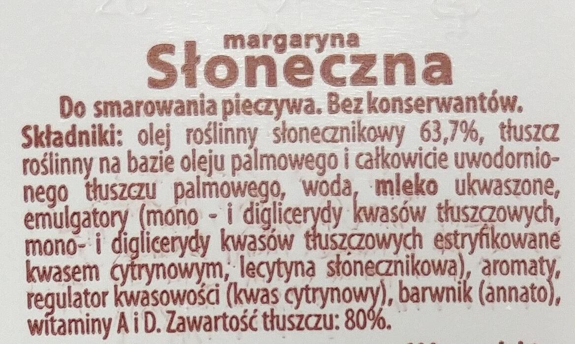 Margaryna Słoneczna - Składniki - pl