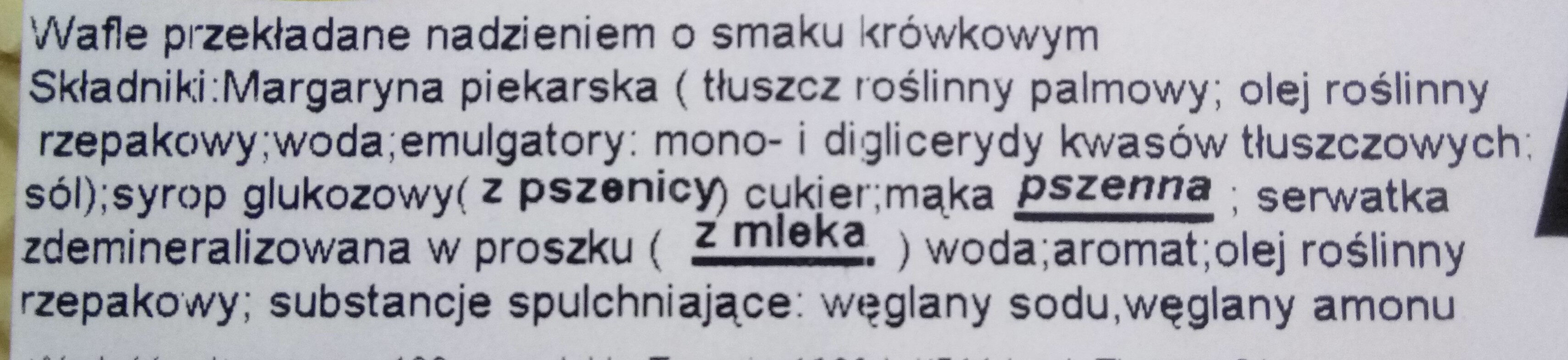 Wafle przekładane nadzieniem o smaku krówkowym - Ingrediënten - pl