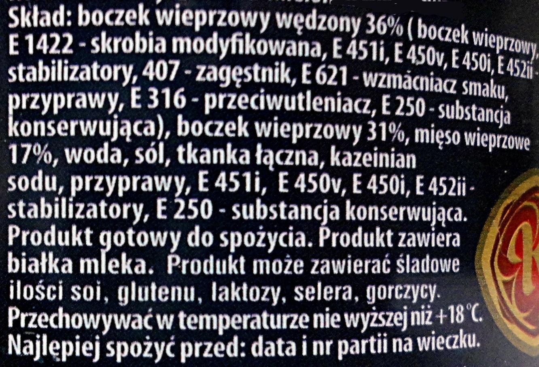 Boczek wieprzowy - Ingredients - pl