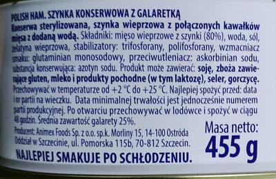 Szynka konserwowa z galaretką - Składniki - pl
