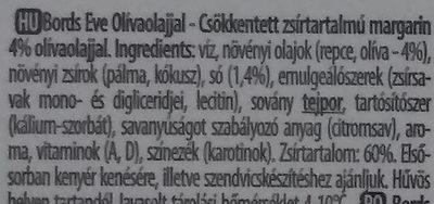 Bords Eve margarin olívaolajjal - Ingrédients