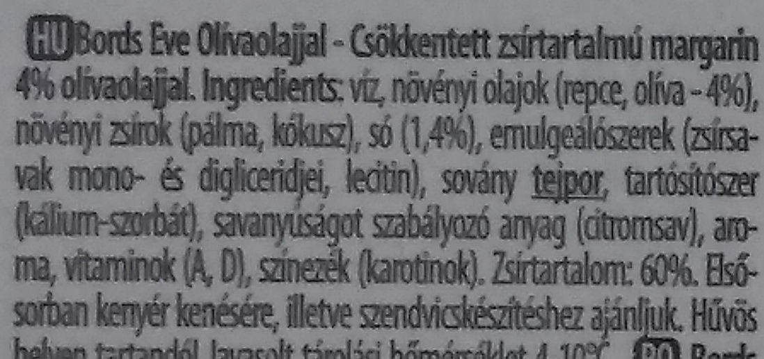 Margarine - Ingredients - hu