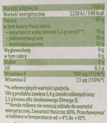Margaryna roślinna - Wartości odżywcze - pl