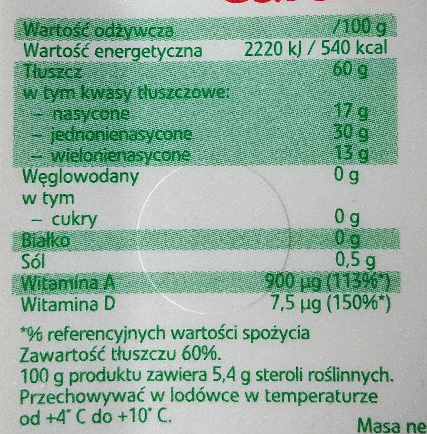 Optima Cardio - margaryna roślinna - Wartości odżywcze - pl