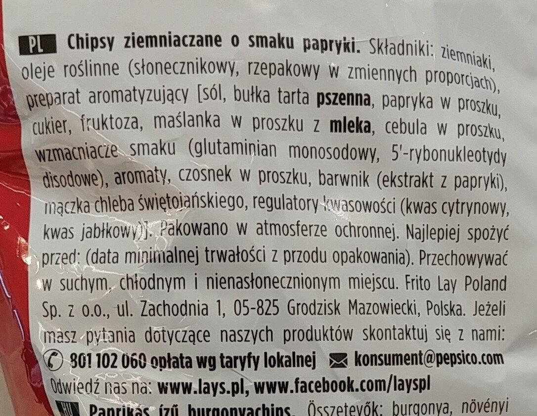 Chipsy ziemniaczane o smaku papryki. - Składniki - pl