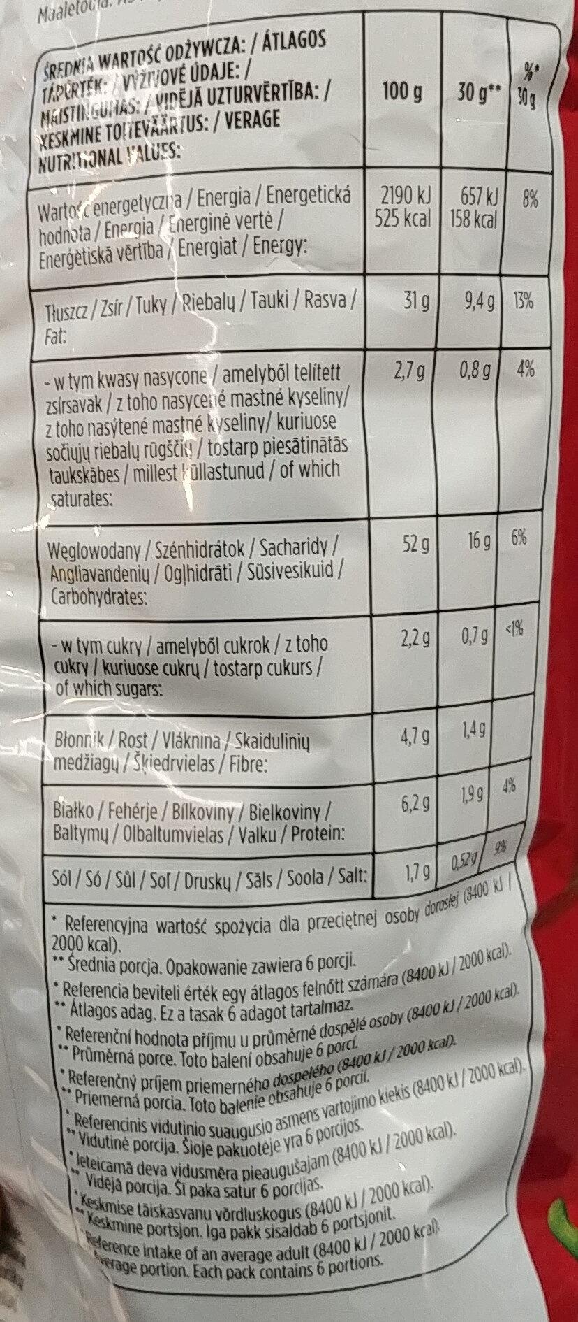 Chipsy ziemniaczane o smaku papryki. - Wartości odżywcze - pl