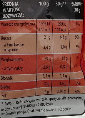 Chrupki kukurydziane orzechowe. - Informations nutritionnelles - pl