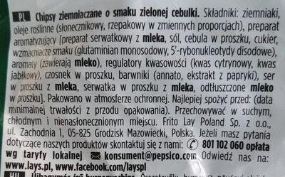 Chipsy ziemniaczane o smaku zielonej cebulki - Składniki - pl