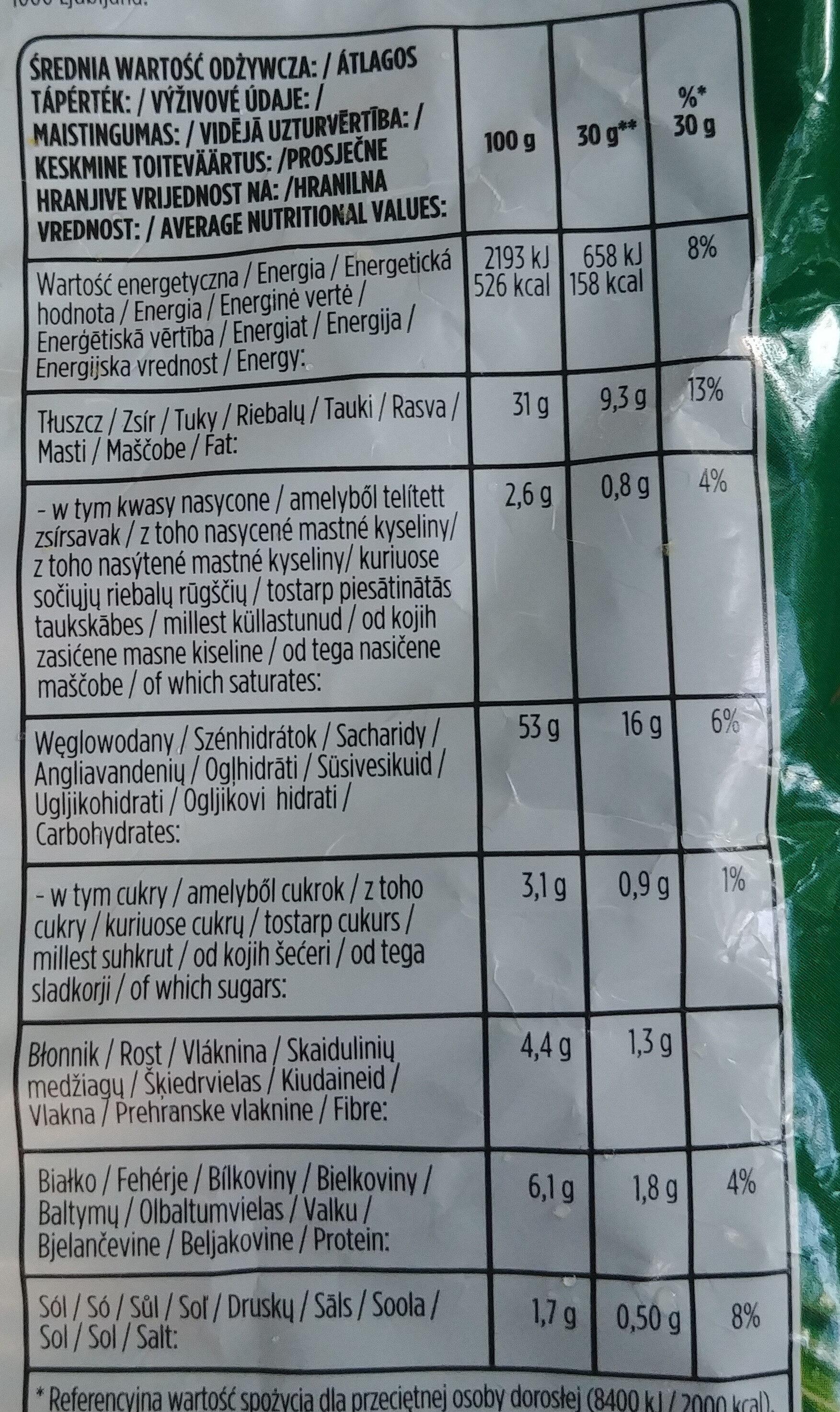 Chipsy ziemniaczane o smaku zielonej cebulki - Wartości odżywcze - pl