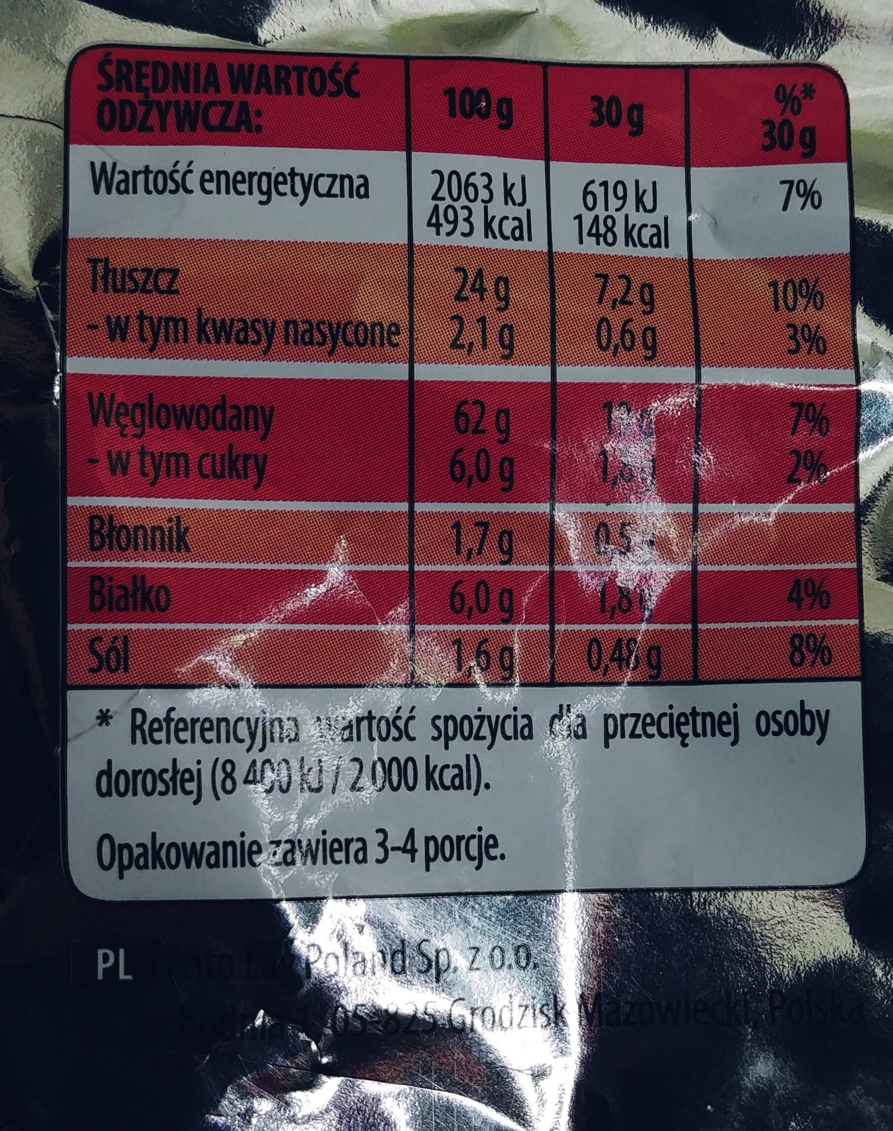 Chrupki kukurydziane o smaku ketchupu - Nutrition facts - pl