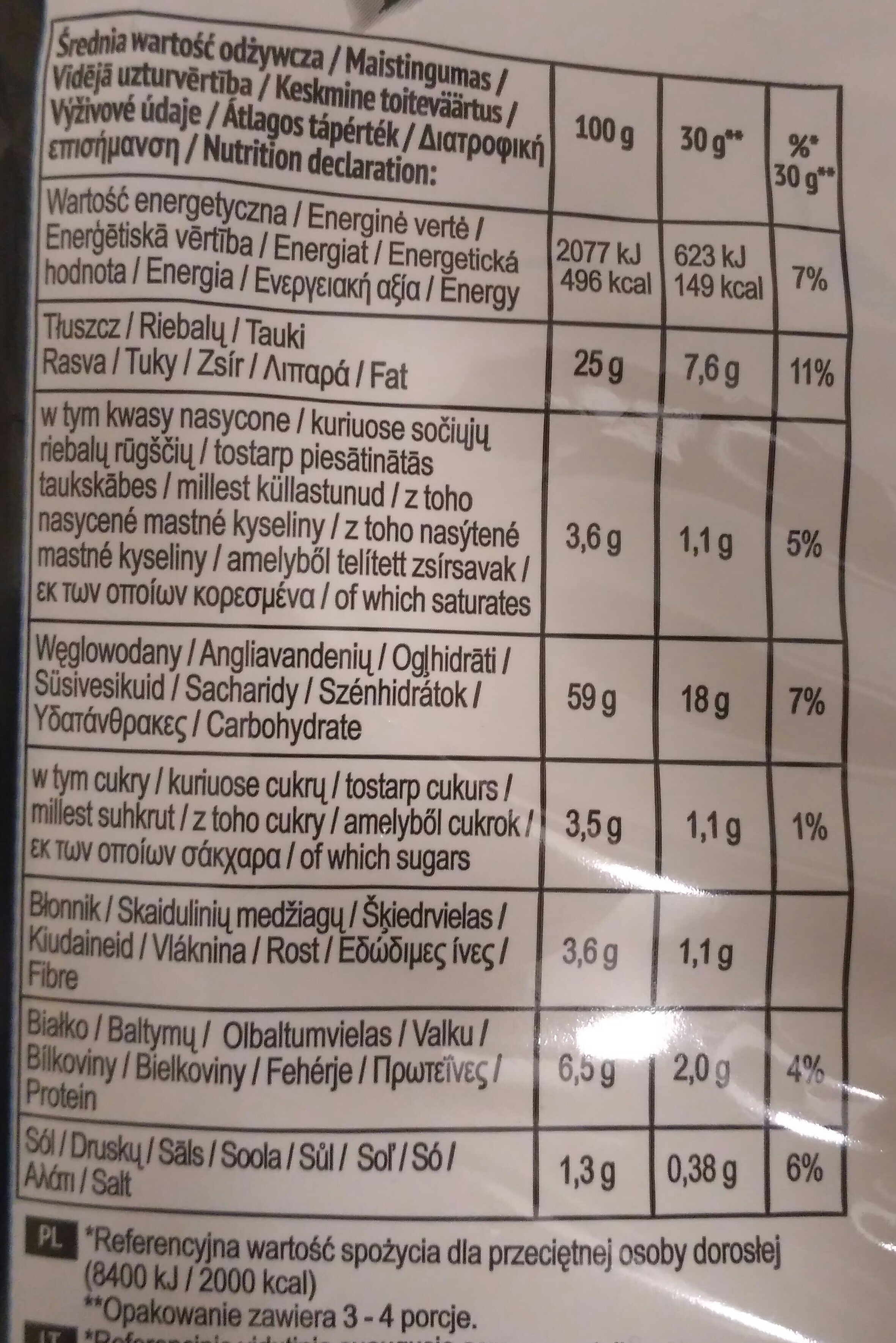 Doritos BBQ - Voedingswaarden - en