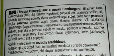 Cheetos hamburger flavoured - Składniki - pl