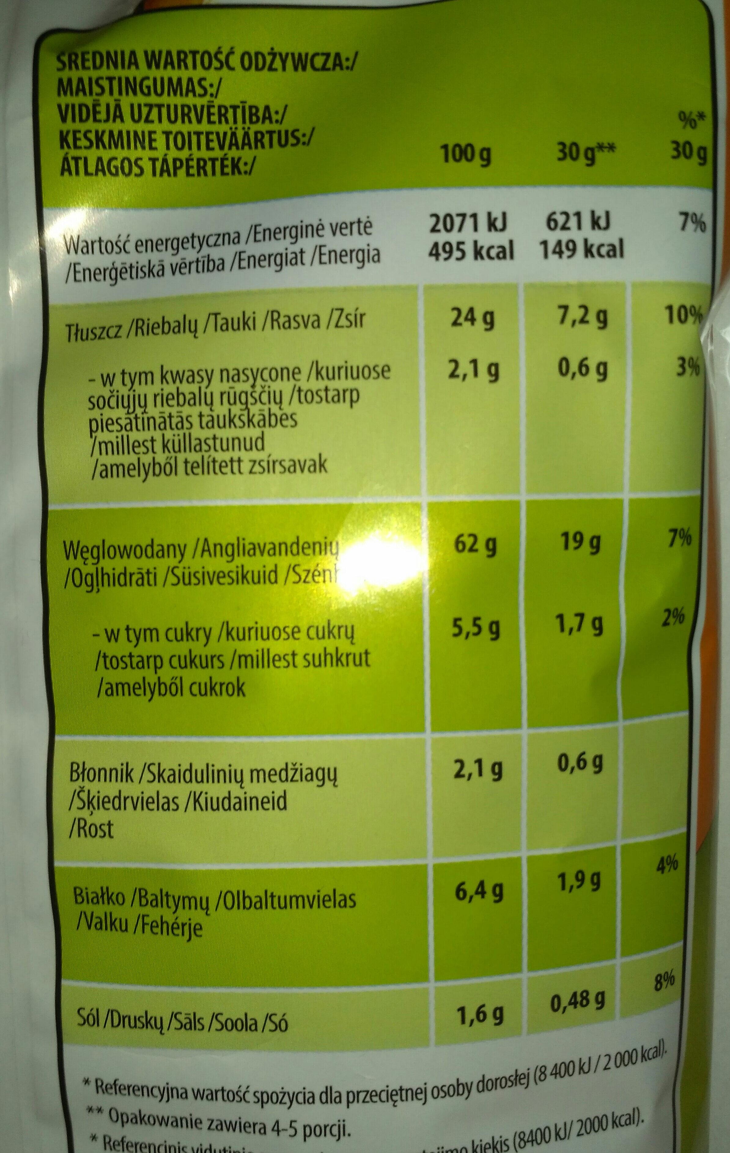 Cheetos hamburger flavoured - Wartości odżywcze - pl