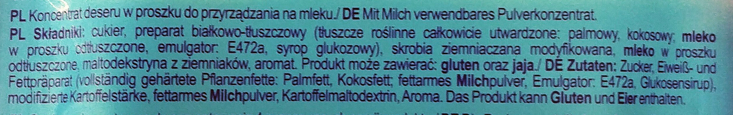 Koncentrat deseru w proszku do przyrządzania na mleku - Ingrediënten - pl