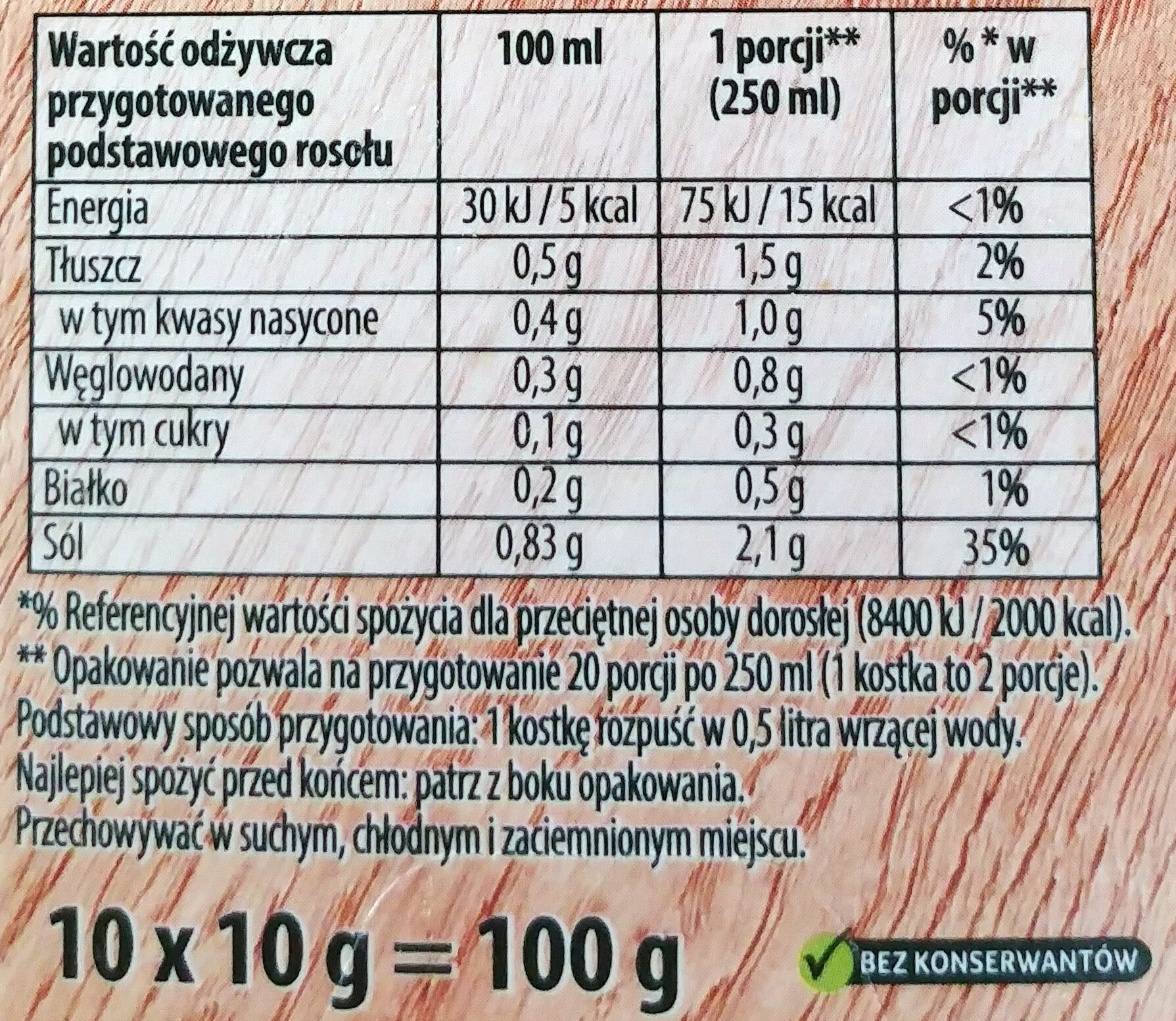 Rosół wołowy - Nutrition facts