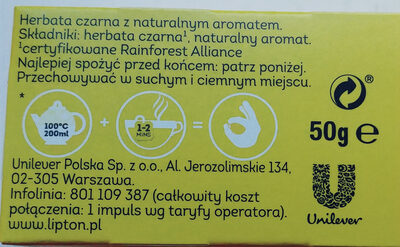 Herbata czarna z naturalnym aromatem - Składniki