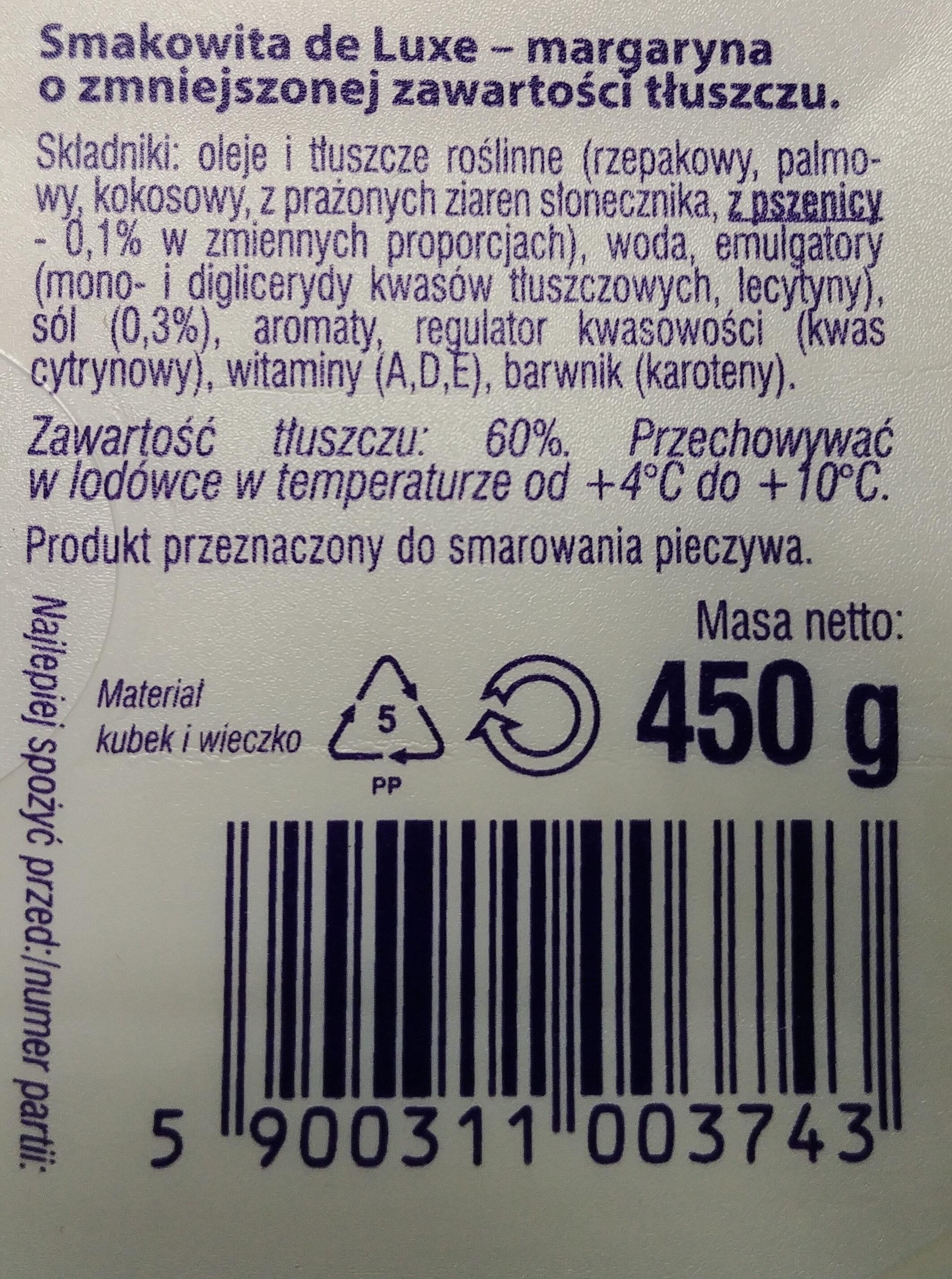 Margaryna o zmniejszonej zawartości tłuszczu - Składniki - pl