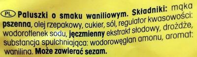 Paluszki o smaku waniliowym - Składniki