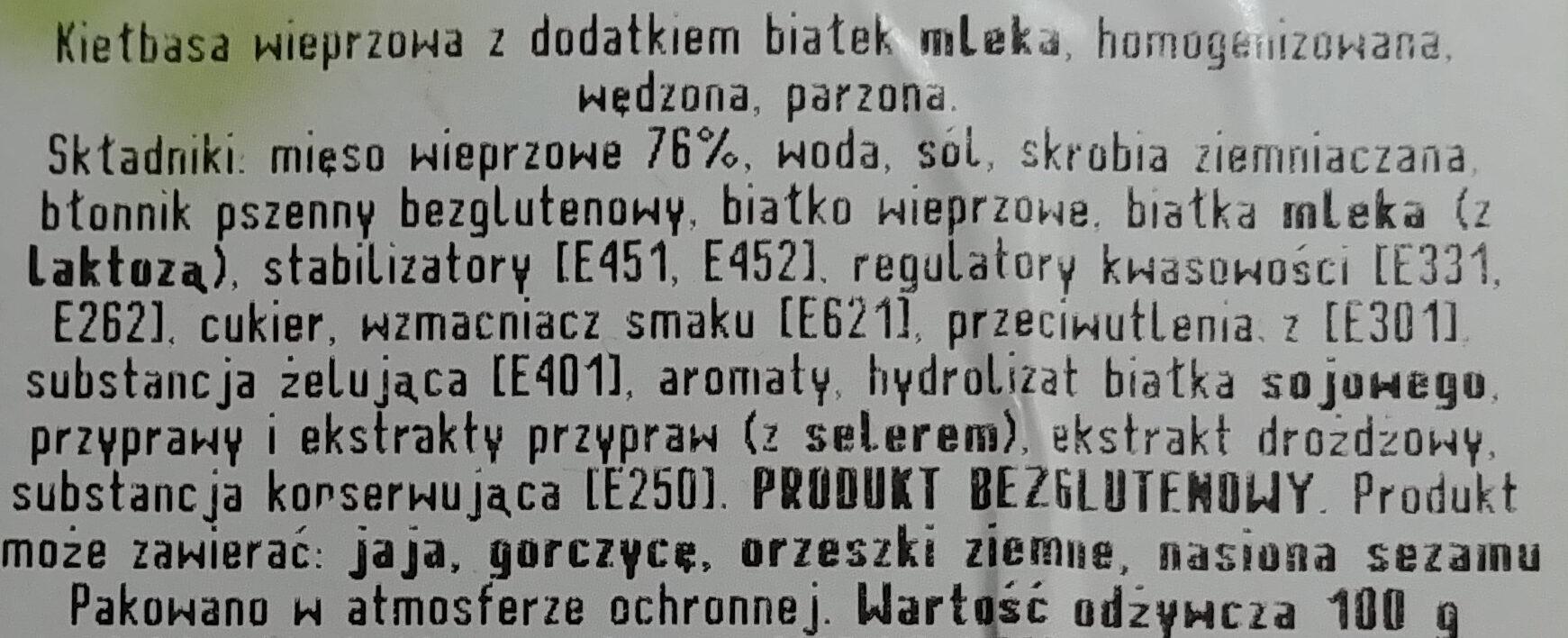 Parówki wieprzowe Mediolanki - Składniki - pl