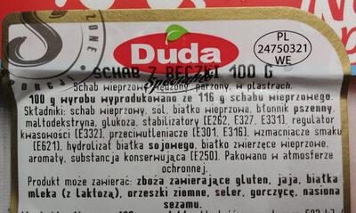 Schab z beczki - Ingrediënten