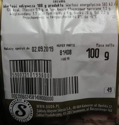 Schab z beczki - Voedingswaarden