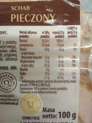 Kraina Wędlin Select Schab pieczony 100g - Informations nutritionnelles - pl